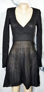 ATELIER PHOLYA NEW NWT Sheer Black Metallic Shimmer Sweater Dress Small Italy