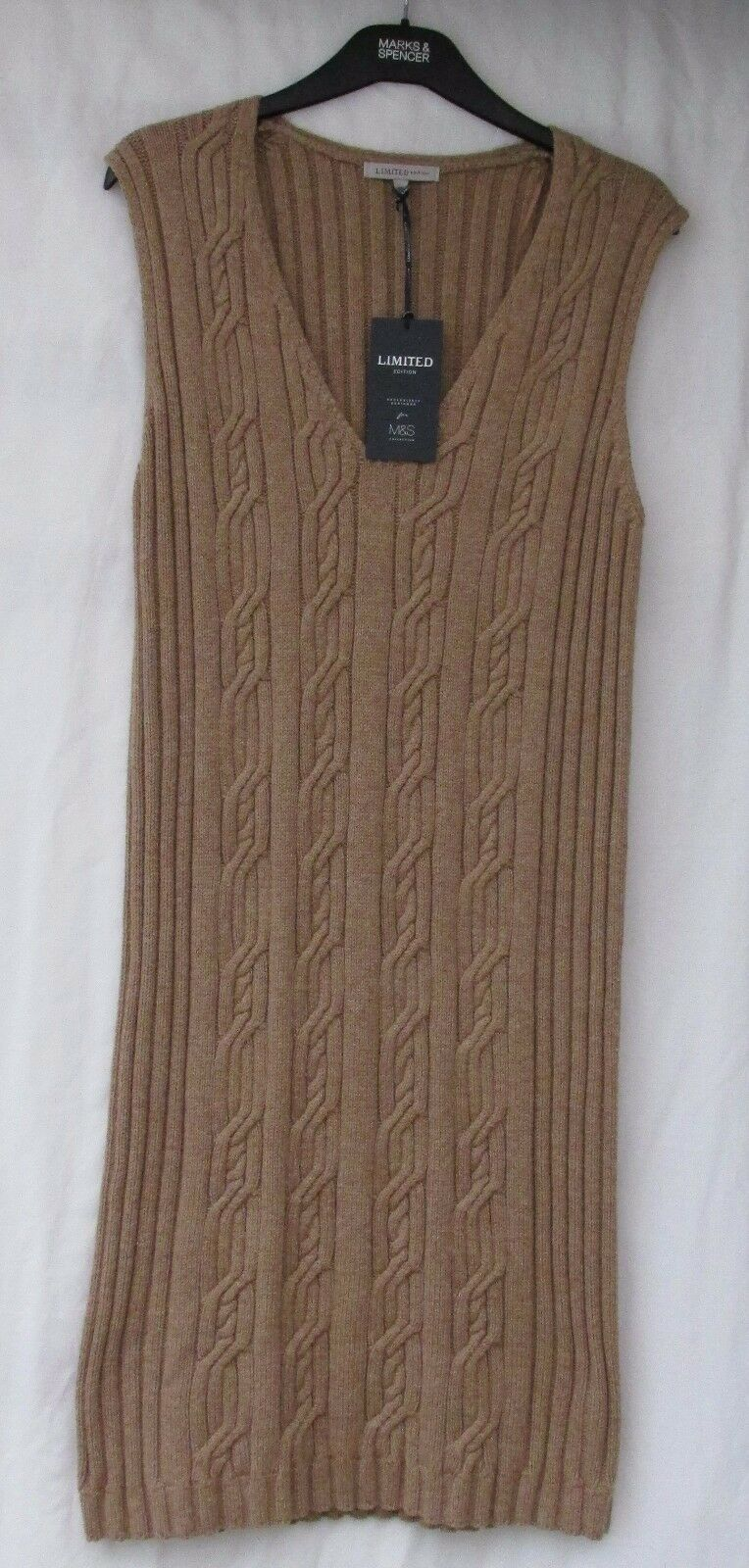 LADIES MARKS AND SPENCER LIMITED CAMEL LONG SLEEVELESS RIBBED JUMPER SIZE 16