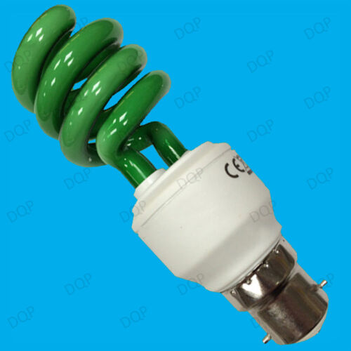 Bayonet BC B22 Lamps 6x 15W Coloured Low Energy CFL Spiral Party Light Bulbs