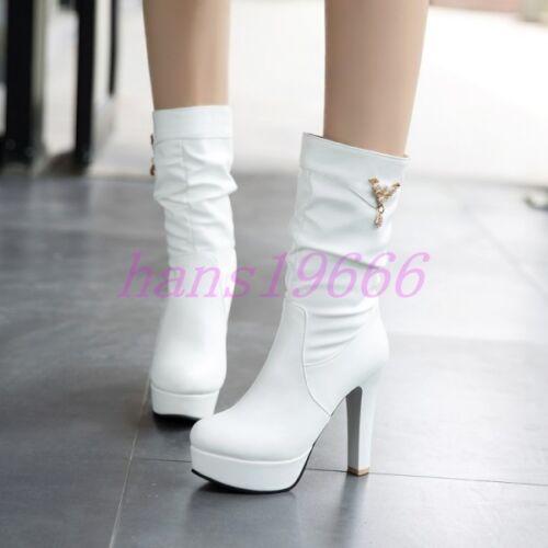 Womens Platform Round Toe High Heel Stiletto Mid Calf Boots Shoes Plus Sz Casual