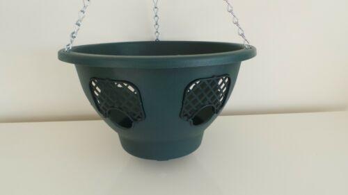 """Set di due Plantopia lato FIORIERA 12/"""" in plastica Vaso sospeso completo verde"""