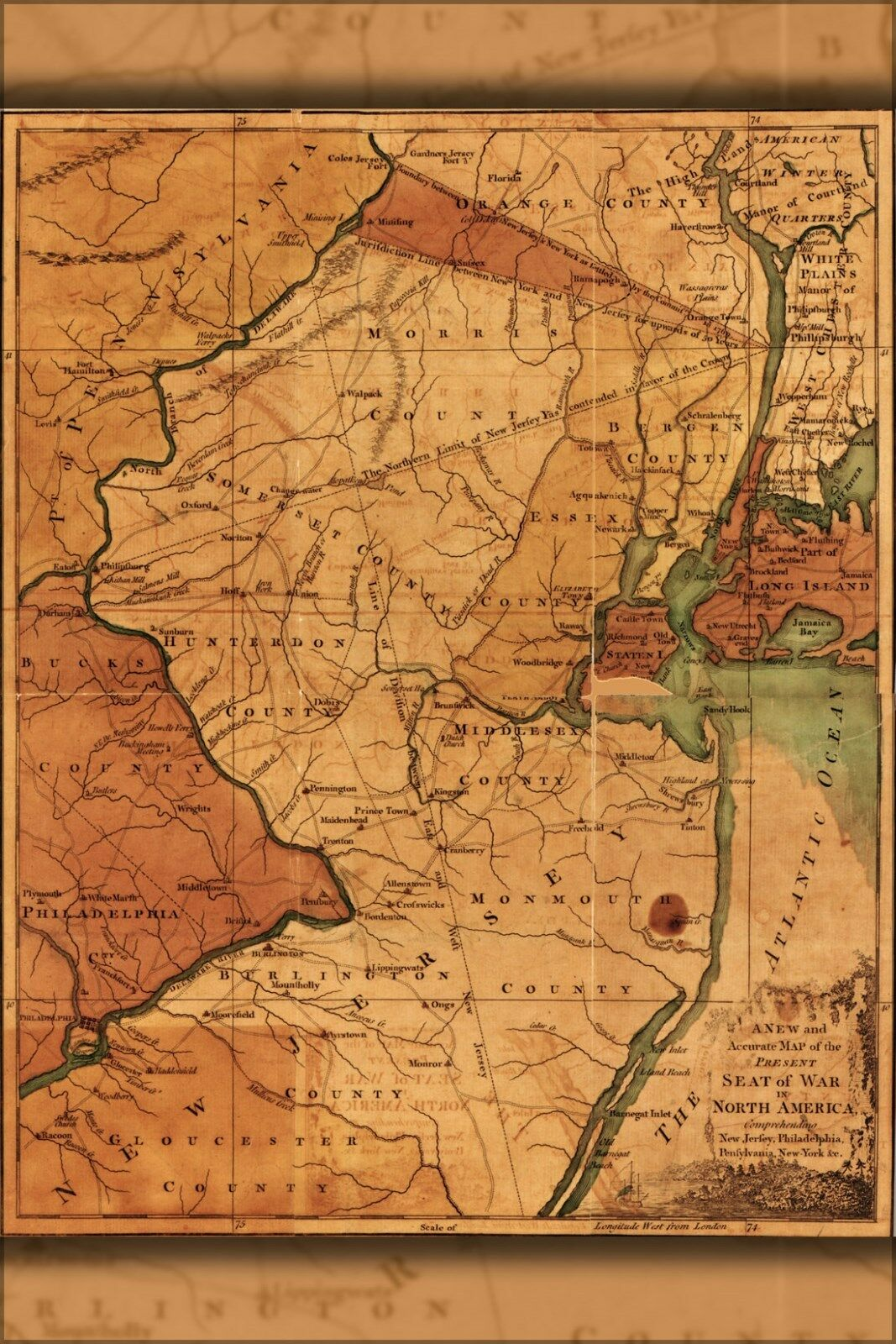 Poster, Poster, Poster, Molte Misure; Mappa Del Nuovo Maglia Pennsylania New York 1777 P2 f4adcd