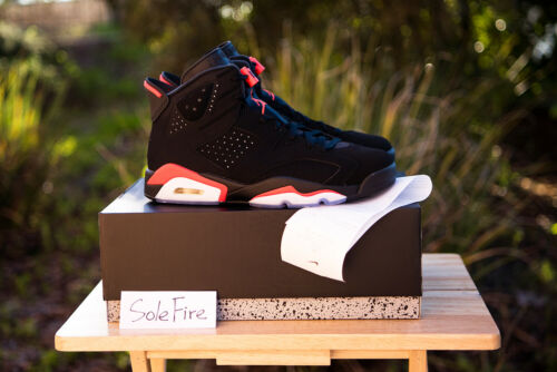 2019 Nike Air Jordan 6 Retro Black Infrared VI OG Bred White Carmine DB