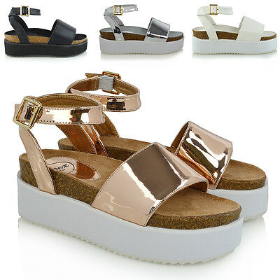 Womens Platform Strappy Sandals Chunky Wedges Flatform Peep Toe Casual Shoes 3 8 | eBay