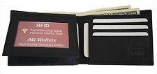 Mens Bifold Genuine Leather RFID Blocking Black Flap Card/ID Security Wallet