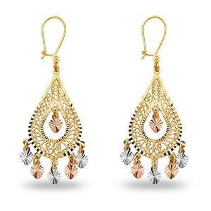 Chandelier Teardrop Earrings 14k Yellow White Rose Gold Hanging ...