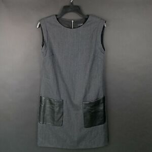 J.Crew Womens Size 2 Shift Dress Faux Leather Pockets Sleeveless Wool Blend Gray