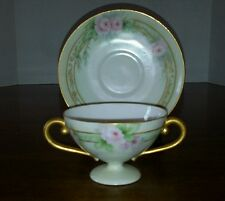 Ct Altwasser Silesia Footed Cream Soup Bowl Cup Saucer Roses Gold Pale Green