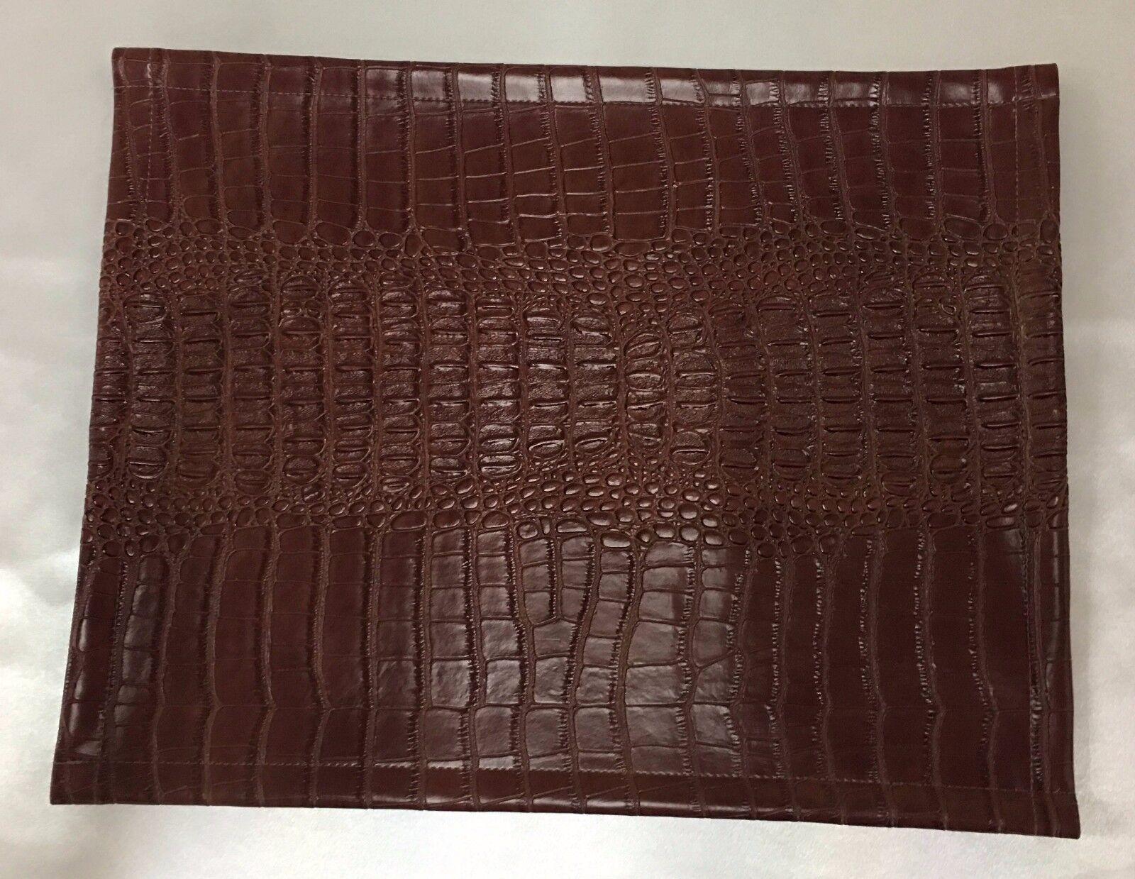 Vinyle, marron Nil, NAPPERONS texture bords ourlés 14 x 14  set de 6 carré