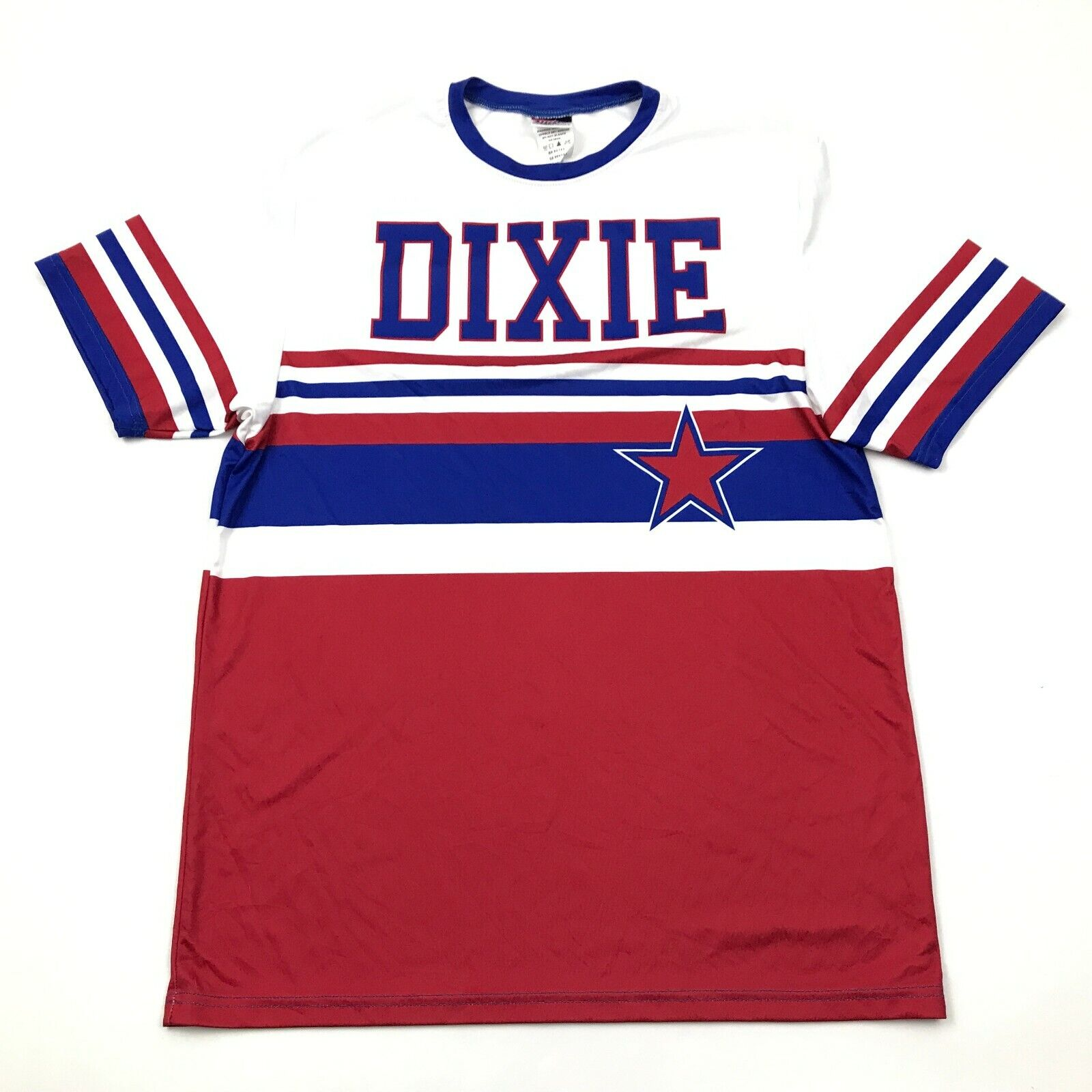 DIXIE Dry Fit Shirt Size Medium M Adult Red Blue White Short Sleeve Tee Williams