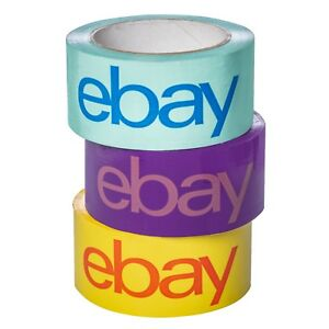 NEW-RELEASE-2-034-x-75-yard-Purple-Blue-and-Yellow-eBay-Branded-Packaging-Tape