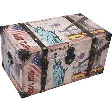 TRUHE NEW YORK HOLZKISTE B49xH24,5xT28CM AUFBEWAHRUNGSTRUHE HOLZBOX WÄSCHETRUHE