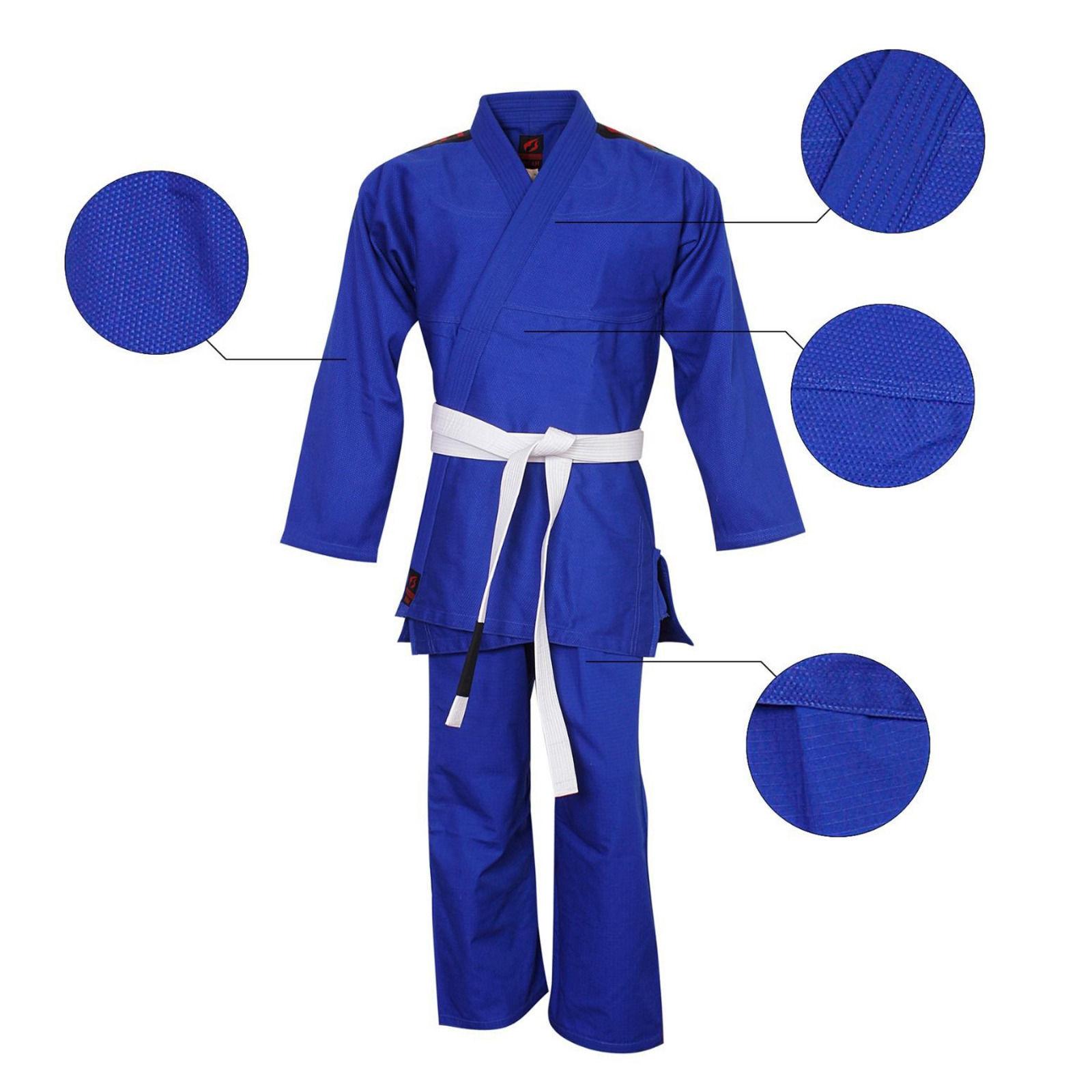 Martial Art Jiu Jitsu Gi Suit Top Quality Pro Design Suit Uniform blueee Free Belt