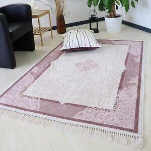 Teppich Waschbar Und Rutschfest In Rose Mit Bordure Medaillon Kuche