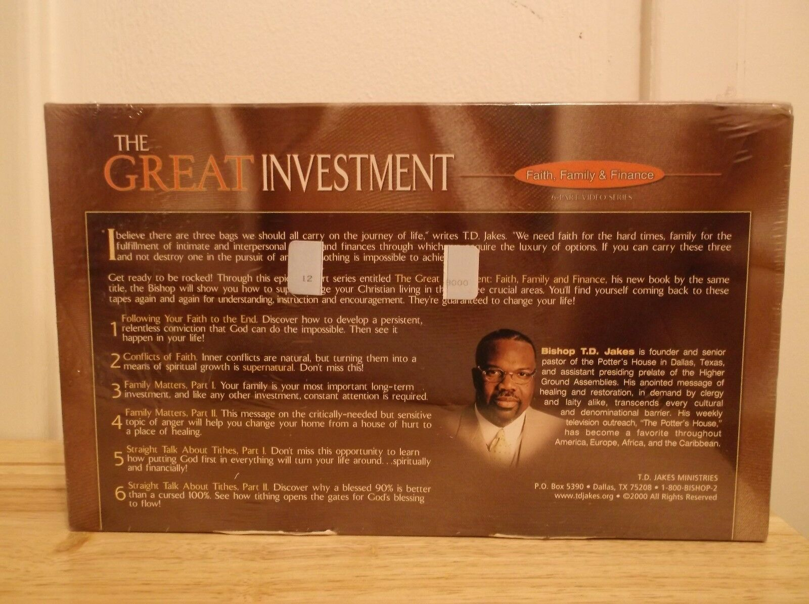 TD Jakes The Great Investment Faith Family & Finance Video VHS Set