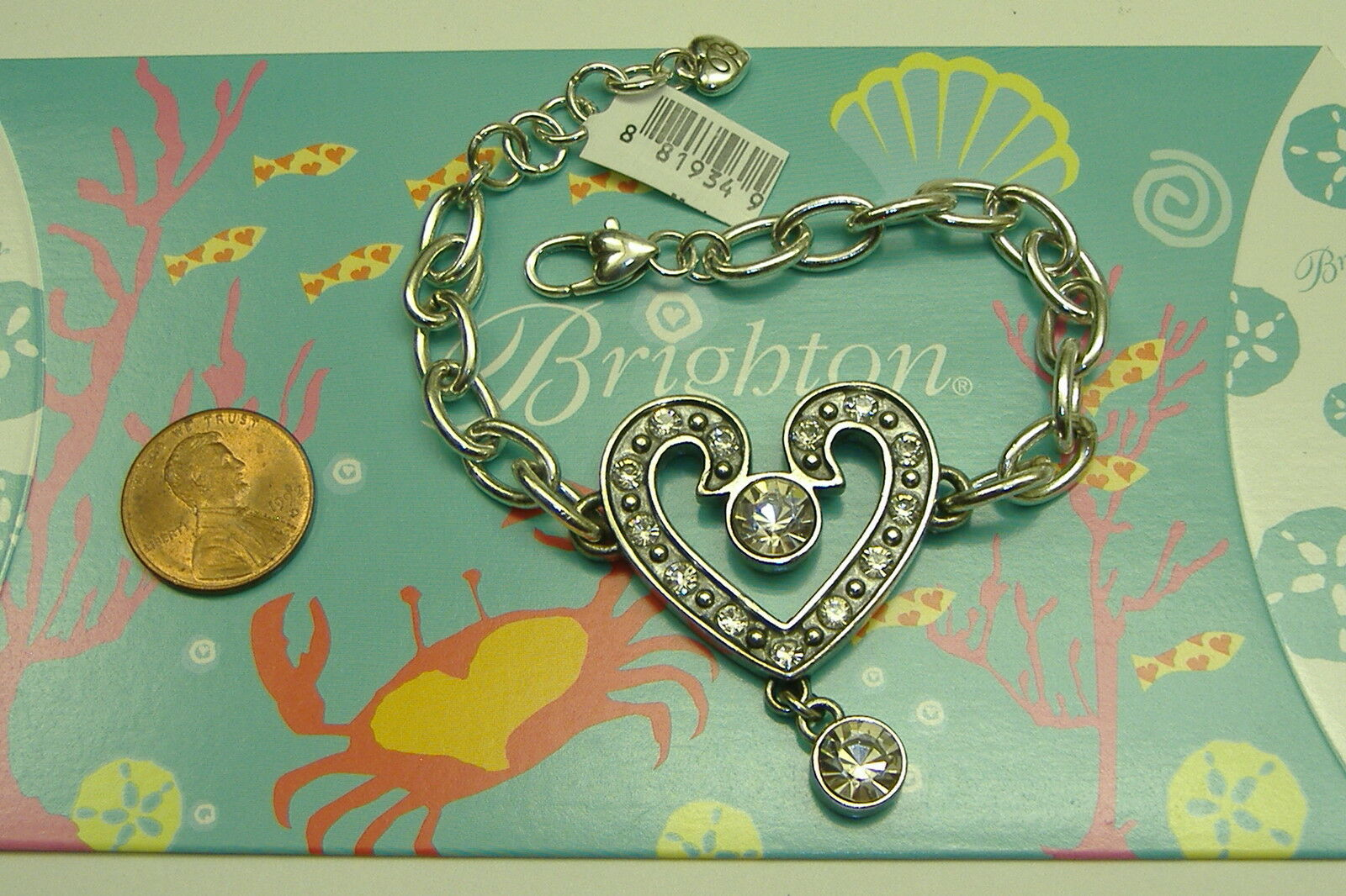Brighton  classic  crystal heart charm bracelet NWT 8.5-9.5 inches adjustable