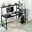 home office computer desk with hutch and 4-tier shelves bookshelf & cpu stand us