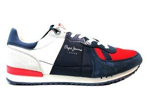 Caricamento dell immagine in corso Pepe-Jeans-London-PMS30415-Blu-Rosso- Sneakers-Uomo- ed977e0afe1