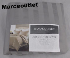 Charter Club 500 Thread Count Damask Stripe FULL / QUEEN Duvet Cover Dove Gray