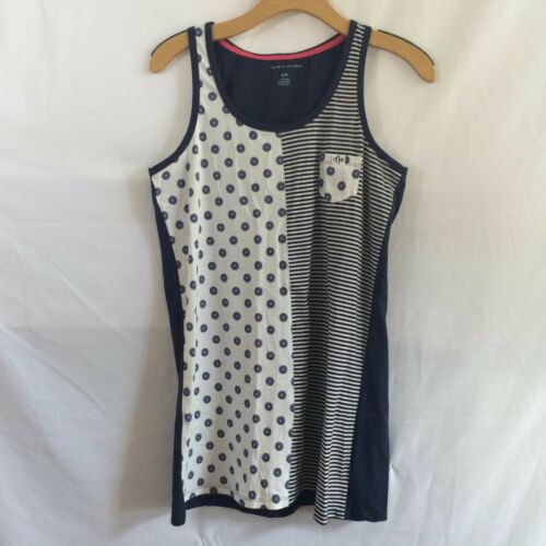 Tommy Hilfiger Tank Short Chemise Nightgown XS Navy Stripe Paisley NEW $52