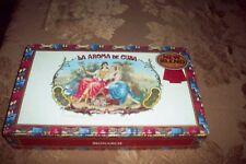 VINTAGE  La AROMA De CUBA CIGAR BOX -LARGE SIZE  BEAUTIFUL GRAPHICS! VG COND