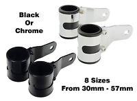 Premium Motorcycle Headlight Brackets Stealth Black / Chrome Various Sizes