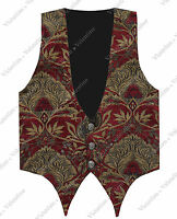Steampunk Men Red Gold Brocade Vest Houdini Tapestry Downton Gothic Waistcoat L