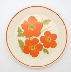 Temper-ware-by-Lenox-Orange-design-FIRE-FLOWER-10-3-8-034-Dinner-Plate-Vtg-USA
