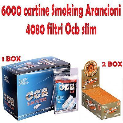 4080 Filtri OCB SLIM 6mm BOX 34 BUSTE 6000 Cartine OCB ORANGE CORTE ARANCIONI