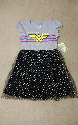 Girls Size Large (10-12) DC Comics Wonder Woman Tutu Dress Black/.Grey New!