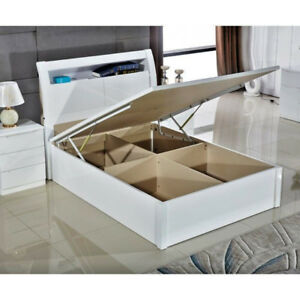 Magnificent Details About Grace White High Gloss Mdf Wooden Ottoman Storage Bed With Hard Base Led Light Ocoug Best Dining Table And Chair Ideas Images Ocougorg