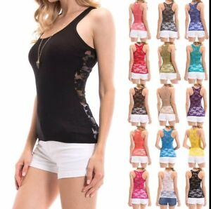 Women-039-s-Racerback-Ribbed-Tank-Top-Lace-Back-Basic-Cami-Solid-Seamless-Tee-Shirt