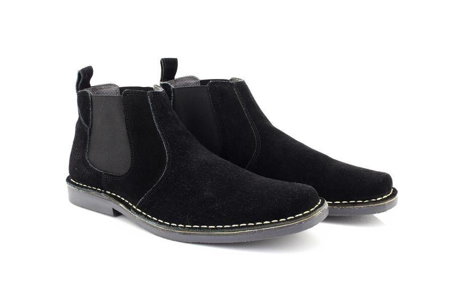 Roamers Desert Freddy Leather Desert Roamers Boots Black Real Suede 1f85e1