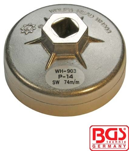 BGS Tools End Cap Oil Filter Wrench Aluminium Diecast 74mm x P14 1041
