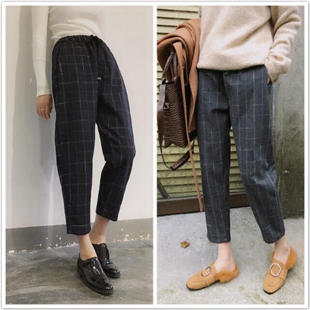 Trendy Korean Fashion Grids Checks Loose Summer Women Ladies Harem Casual Pants