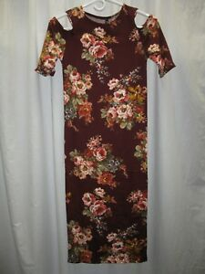 Womens-Medium-NEW-Rags-and-Couture-Long-Cold-Shoulder-Floral-Dress