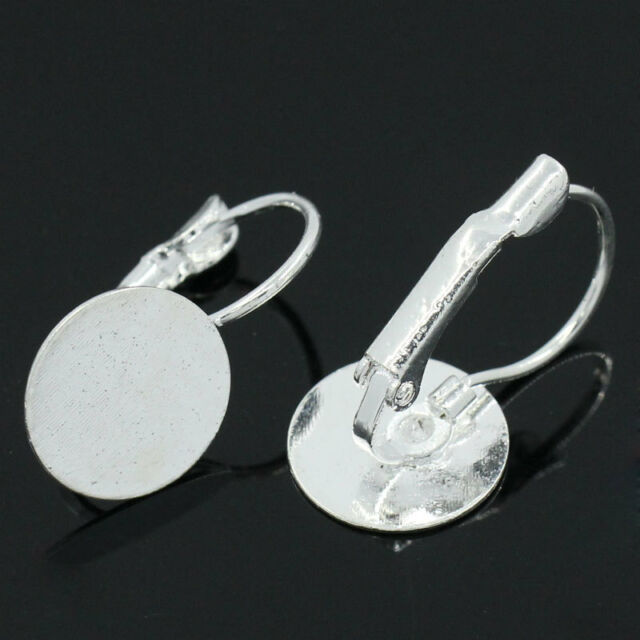 """20 PCs Earring Hoops W/Pad Findings Silver Plated 22mmx12mm(7/8""""x4/8"""")"""