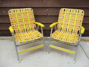 Vintage-Mid-Century-Folding-Aluminum-Webbed-Lawn-Chairs-Yellow-amp-Orange-Set-of-2
