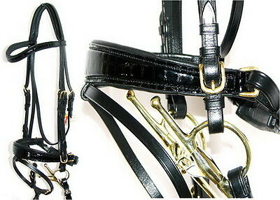FSS MOCK CROC JET BLACK Curve German Comfort PATENT Square Swelled Bridle BRASS