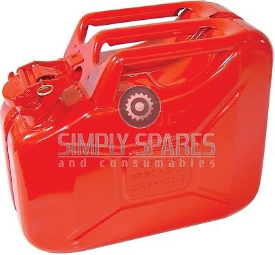 High Quality Premium 10 Litre Heavy Duty Red Metal Jerry Fuel Petrol Can