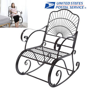 Magnificent Details About Porch Rocking Chair Wrought Iron Outdoor Rocker Patio Glider Deck Seat New Ibusinesslaw Wood Chair Design Ideas Ibusinesslaworg