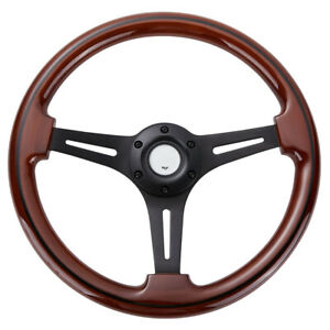 14inch-Black-Spoke-Steering-Wheel-2-039-039-Deep-350mm-Walnut-Wood-Grain-Trim-Classic