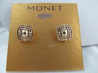Monet Gold Dimensional Textured Square Stud Earrings, Stunning, Shiny