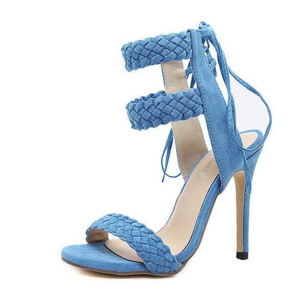 Último gran descuento Sandali stiletto eleganti tacco 12 cm azzurro lacci simil pelle eleganti 1157