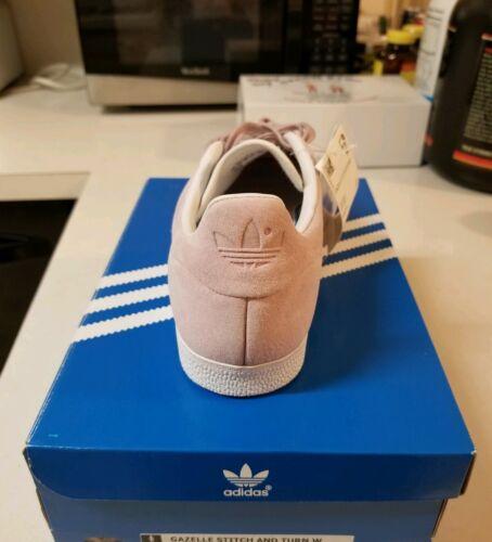 blanco Gazelle Adidas casuales Nuevo zapatos Stitch Sz y mujer 8 rosa para AwqxptSPq