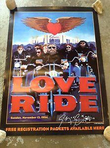 1994 love ride 11 glendale harley davidson poster autographed