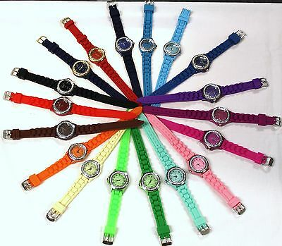 Small 31.2mm Crystal Bezel Dial, 9.2 inches Silicone/ Jelly Band-Multiple Colors