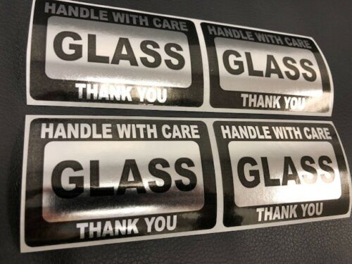 Handle With Care GLASS Thank You 2x3 GOLD FOIL Color 100 NEW GOLD FOIL NEW