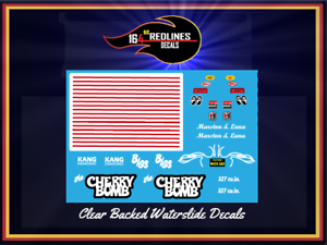 """1//24 Scale /'55 Chevy /""""Cherry Bomb/"""" Gasser Decal SCR-124-0018"""