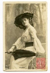 c 1905 French Glamour FASHION BEAUTY w/ Parasol Pretty lady photo postcard